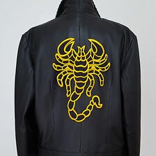 Grand Ecusson Patch thermocollant brodé Scorpion - noir & jaune or
