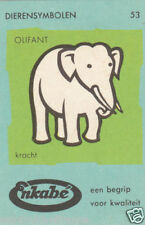 53. ELEPHANT CARD IMAGE MATCHBOX LABEL 1962