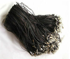 10PCS Black Organza Ribbon Necklace Cords Colour Alloy Clasp 45cm + 5cm u