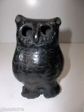 Vintage Mata Ortiz Mexican Pottery OWL Buho Effigy Black On Black Artist Signed