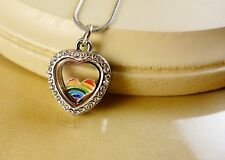 RAINBOW HEART GAY PRIDE FLOATING CHARM IN small LOCKET STAINLES STEEL NECKLACE
