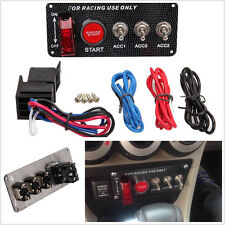 Car SUV Racing Engine Start Push LED Button Toggle Ignition Switch Carbon Panel