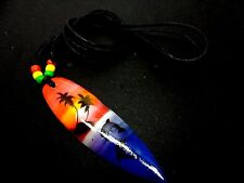 A MENS/BOYS  BLACK CORD SURFER TRIBAL WOOD SURFBOARD  ADJUSTABLE NECKLACE. NEW.