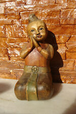 OLD ANTIQUE ASIAN WOOD CARVED AND HAND PAINTED BOY SCULTURE STATUE