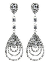 CLIP ON EARRINGS - silver plated with clear crystals chandelier drop - Evita