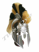 MEDIEVAL GREEK CORINTHIAN HELM BLACK & YELLOW PLUME CRUSADER KNIGHT ARMOR HELMET