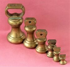 SET VINTAGE BRASS BELL WEIGHTS 1lb - 1/2 oz IDEAL FOR KITCHEN SCALES