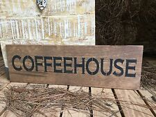 "Large Rustic Wood Sign - ""Coffeehouse"" Fixer Upper, Vintage Shabby, Antique"