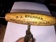 "Rare Antique Corkscrew ""Wholesale Liquor Dealer"" P J Brennan Braddock PA Look!"