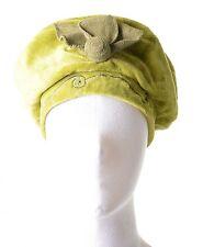 Mütze Hut aus Samt mit Pailletten & Blume Grün