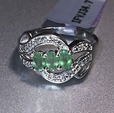 Lovely Genuine 3 Stone Zambian Emerald/White Zircon Sterling Silver Ring Size 7