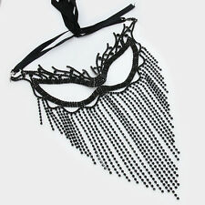 Jet Onyx Black Crystal Rhinestone Cat Eye Fringe Chain Masquerade Party Mask