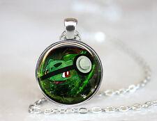 Bulbasaur Pokemon Pokeball Glass Cabochon Tibet silver pendant chain necklace