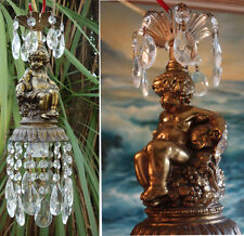 1of2 Vintage nude Cherub hanging Lamp crystal prisms Chandelier brass Spelter