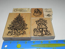 Stampin Up Old Fashioned Christmas Santa Stamp Set 6 Vintage Tree Merry To From