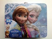 Tin Metal Lunch Snack Box + 48 pc Puzzle Disney Frozen Anna Elsa NEW