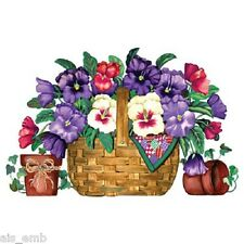 Pansy Basket Floral HEAT PRESS TRANSFER for T Shirt Sweatshirt Tote Fabric 796b