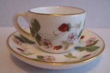 RARE WEDGWOOD  WILD STRAWBERRY BONE CHINA MINIATURE TINY DUO CUP AND SAUCER