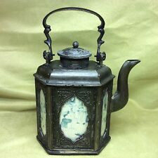 Vtg signed Japan tea kettle cast iron Asian naughty art detail decor antique