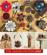 SEWING PATTERN! MAKE FABRIC FLOWER ACCENTS! STEAMPUNK~VICTORIAN~MAKE BARRETTES!