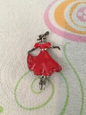 Fashion Brooch Pin Lady in Red Dress Enamel W/Rhinestones Jewelry