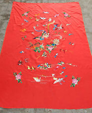 Antique Chinese Traditional Birds Hand Embroidered Silk Wedding Sheet (D57)
