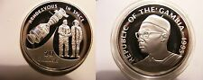 1993 Gambia Large Silver Proof  20 Dalasis-Rendezvous in Space  USA Russia