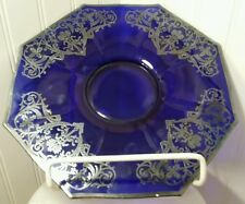 "STUNNING ANTIQUE COBALT BLUE 10"" OCTAGON GLASS PLATTER WITH STERLING TRIM!"