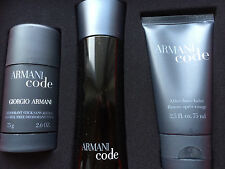 Armani Code 3 Piece Gift Set For Men 2.5 EDT+2.6 Deodorant+2.5 After Shave Balm