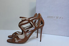New sz 9.5 / 39.5 Jimmy Choo Leslie Curvy Caged Brown Leather Ankle Sandal Shoes