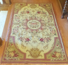 ANTIQUE FRENCH COUNTRY ROSES DESIGN NEEDLEPOINT RUG HANDMADE