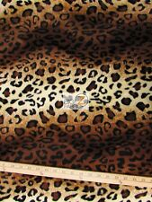 VELBOA FAUX FAKE FUR LEOPARD ANIMAL SHORT PILE FABRIC - Brown/Light Brown - 60""