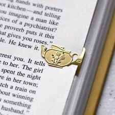 mini Flower Design Tea Pot 18k gold plated bookmark for teatime vintage style