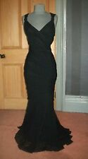 GORGEOUS DEBUT LONG BLACK MESH GRECIAN EVENING DRESS, SIZE 16
