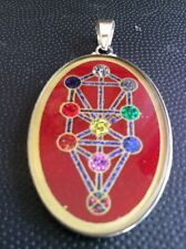 "Tree Of Life Coral Gemstone 1.5"" Pendant Protection Luck Kabbalah Spiritual Gift"