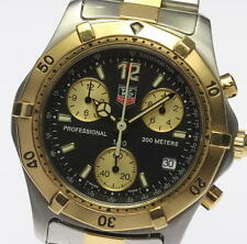 Authentic TAG Heuer Chronograph Pro 200m Black Dial Two Tone Watch CK1120_327824