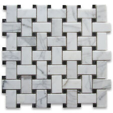 Calacatta Gold Calcutta Marble Basketweave Mosaic Tile Black Dots 1x2 Honed