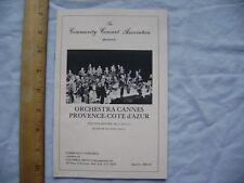 1980/81 Community Concert Assoc. program- Orchestra Cannes Provence-Cote d'Azur.