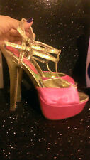 TWO LIPS HOT PINK/GOLD HEELS UV REACTIVE 7.5 Club Stripper Exotic Dancer prom