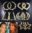 FA US Punk Gold Tone Bamboo Big Hoop Circle Earring Hiphop Womens Jewellery Gift