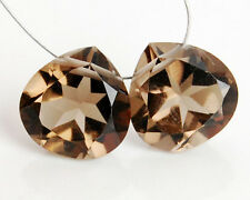 AAA Natural Smoky Quartz Faceted Heart Briolette Beads Matched Pair 10mm.