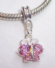 Pink Rhinestone October Birthstone Butterfly Dangle Bead fits Charm Bracelets