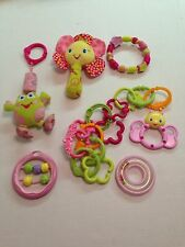 Bright Starts Pretty in Pink Infant Toys Lot Rattle Teethers Play gym Links 17pc