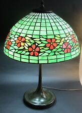 Fine Unique Stained Leaded Art Glass Lamp   c. 1915   antique slag Handel