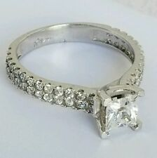 1.15 carat solid 14k White Gold  Princess Cut Engagement ring S 7
