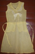 Vtg 20s 30s Flapper Era Yellow Organdy Sleeveless Summer Party Dress for Pattern