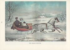 "1974 Vintage Currier & Ives COUNTRY LIFE ""WINTER SLEIGH RIDE"" COLOR Lithograph"