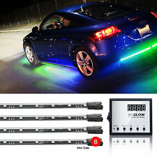 "Multi-Color 8pc LED Undercar Light Kit 2x48"" 4x24""UFO Style 129 Chasing Patterns"