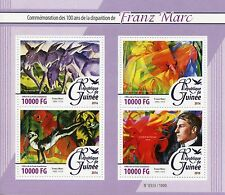 Guinea 2016 MNH Franz Marc 100th Memorial 4v M/S Paintings Donkey Frieze Stamps