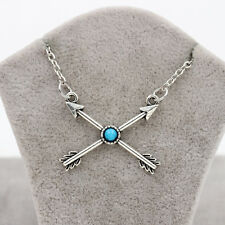 Lady Antique Silver Gypsy Turquoise Cupid's Arrow Pendant Chain Necklace Jewelry